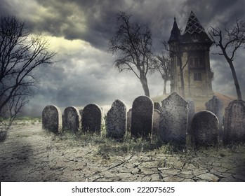 Haunted house on spooky graveyard. Halloween scary party design with tombstones and old castle on creepy cemetery at night.