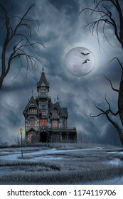 Haunted house in the swamps under a full moon