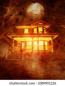 Haunted house,3d illustration