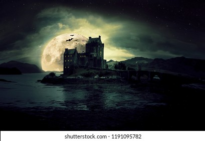 haunted mystic eerie Eilean Donan Castle in Scotland with the sea around it and dark clouds