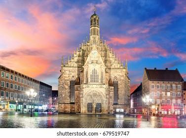 Hauptmarkt with Frauenkirche church andmarketplace in Nuremberg, Bavaria, Germany.
