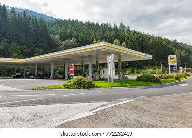 HAUS, AUSTRIA - SEPTEMBER 24, 2017: ENI petrol station in Austrian Alps. ENI is the Italian multinational oil and gas company headquartered in Rome.
