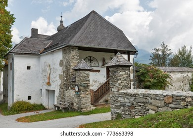 HAUS, AUSTRIA - SEPTEMBER 24, 2017: Old rural local museum close to Saint John the Baptist church. Haus village is a small winter resort located in Styria, Austria.