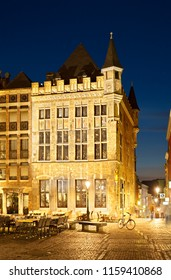 Haus Loewenstein in Aachen, Germany at night.