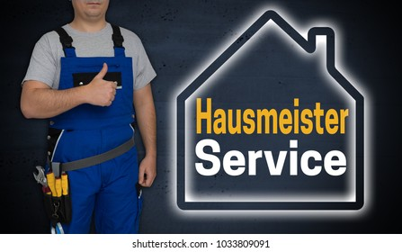Hausmeister Service (in german Janitor service) concept and craftsman with thumbs up.