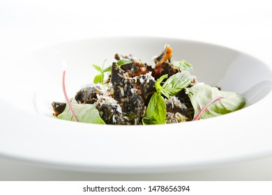 Haute Cuisine Restaurant Dish with Black Ravioli, Tomatoes and Spinach Top View. Stuffed Tortellini Pasta Topped with Fresh Basil, Chard Leaves and Grated Parmesan Cheese Isolated on White Background