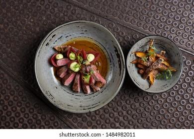 Haute cuisine/Asian fusion, roasted duck