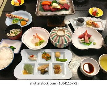 Haute multi course  Japanese cuisine such as seafood, noodles, meats, green tea, rice, miso soup  and dessert. Better known as kaiseki