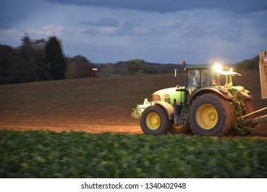 Hautes-de-France/France-October 26 2018: the harvesting of a sugar beet crop in northern France
