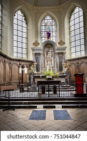 Hautvillers, France - August 9, 2017: Interior of the Saint-Pierre Abbey of Hautvillers with the grave of Dom Perignon in the Champagne district Vallee de la Marne in France.