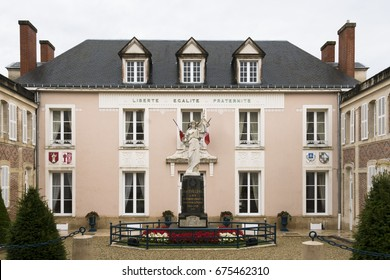 HAUTVILLERS, FRANCE - JUNE 27, 2017: Town hall and war memorial of Hautvillers, a commune in the Marne famous as being the home of Dom Perignon whose work in wine-making helped to make champagne.