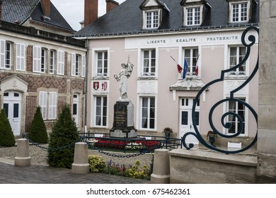 HAUTVILLERS, FRANCE - JUNE 27, 2017: Town hall and war memorial of Hautvillers, a commune in the Marne famous as being the home of Dom Perignon, whose work in wine-making helped to make champagne.