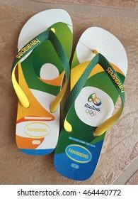 Havaianas Flip Flop El Dorado Hills, CA, USA, August 5th, 2016: Olympics Special Edition Rio 2016 Brazil Flag Sandals