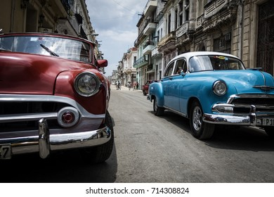 HAVANA - AUGUST 16: Classic American cars on the streets of Havana on August 16, 2017. These old and classic cars are a common sight in the popular visitor destination of Cuba.