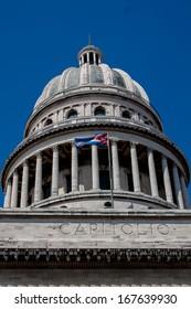 Havana Capitolio Dome with Cuban flag