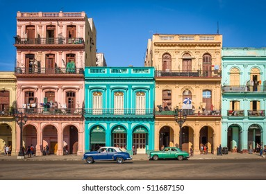 HAVANA - CIRCA AUGUST 2015: Colorful colonial buildings, Havana, Cuba
