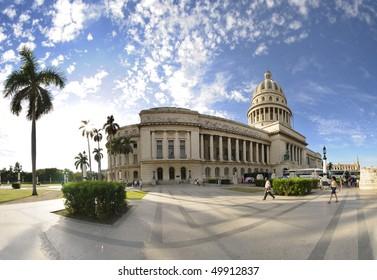 HAVANA - CIRCA DEC 2009. View of Havana National Capitoly Building, one of the most relevant city landmarks built in 1929. Taken in Havana, circa dec 2009.