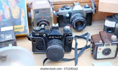 HAVANA CITY, CUBA - NOVEMBER 2016: Old film cameras are displayed for sale in the flea market in Old Havana area, Cuba.