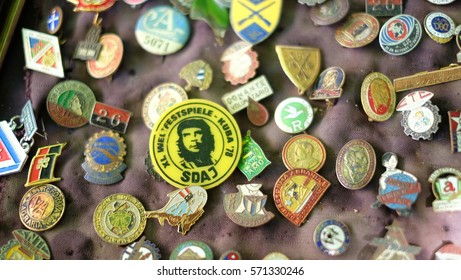 HAVANA CITY, CUBA - NOVEMBER 2016: Rusty and old medals remained from war are displayed for sale in the flea market in Old Havana area, Cuba.