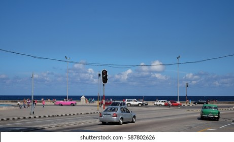 HAVANA CITY, CUBA - NOVEMBER 2016: Landscape of the Malecón or named Avenida de Maceo which is a broad esplanade, roadway and seawall which stretches for 8 kms along the coast in Havana, Cuba