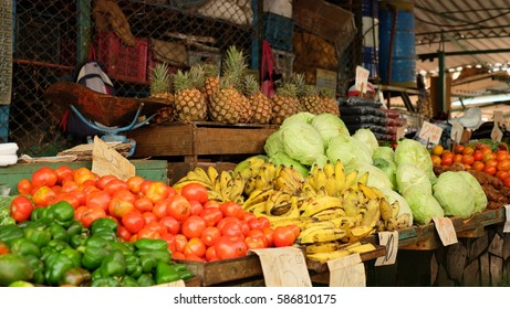 HAVANA CITY, CUBA - NOVEMBER 2017: Inside a local agriculture wet market (called agricultura mercado) in centro Havana. The prices are in Cuban peso.