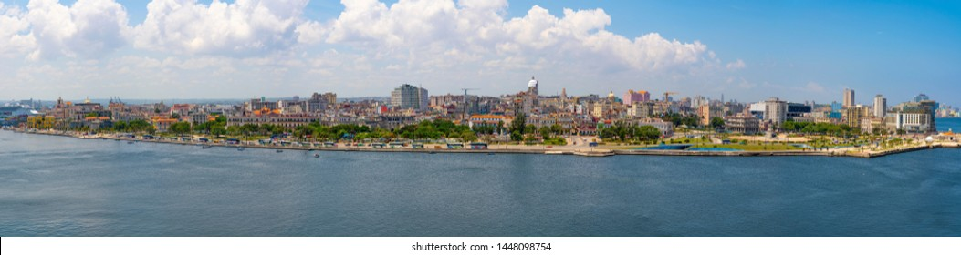 Havana city panoramic view with cruise ship and sea. Captured from Fort of Saint Charles, known as La Cabana in Havana, Cuba in may 2019