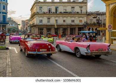 Havana, Cuba - 02 10 2018: Vintage classic American cars in restored condition - provide transport for tourism.