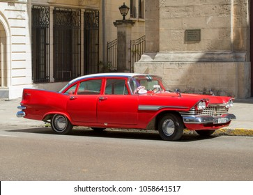 Havana, Cuba - 02 15 2018: Vintage classic American cars in restored condition - provide transport for tourism.