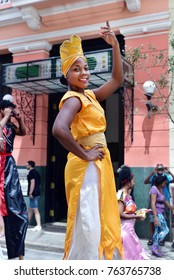 HAVANA - CUBA / 02.26.2017: Street Entertainers Dancing On Stilts, Old Havana, Havana