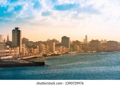 Havana, Cuba - 04 October, 2018: Panorama view of the skyline from Havana City Cuba in the evening sun - Serie Cuba Reportage
