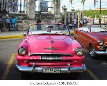 Havana, Cuba, 10.22.2016: vintage cars in old Havana.
