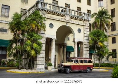 Havana, Cuba, 10.23.2016: a vintage van in front of the National Hotel.