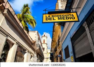 Havana, Cuba - 11 16 2017: Restaurant La Bodeguita del Medio in Havana. One of the most famous places Havana.