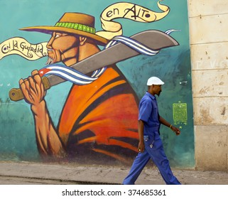 HAVANA - CUBA / 16.03.2015: Havana is a great place to check out murals and graffiti with its colonial architecture and abandoned buildings providing a rich urban canvas