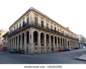 Havana / Cuba - 24 Feb 2011: The vintage building in Havana, Cuba