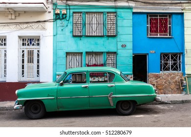 Havana, Cuba 24.01.2016 Vintage classic american car parked in a street of Old Havana