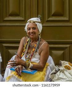 Havana, Cuba - 26 July 2018: Portrait of a Cuban Fortune Teller