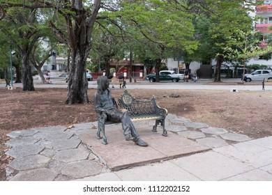 Havana, Cuba - 27 April 2018: John Lennon Park or Parque John Lennon (formerly known as Parque Menocal) located in Vedado district in Havana, Cuba sculpted by Cuban artist José Villa Soberón.