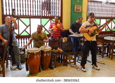 Havana, Cuba - 27 January 2016: Traditional music band playing for tourists in a restaurant of Old Havana on Cuba