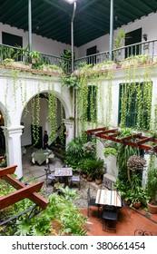 Havana, Cuba - 27 January 2016: restaurant on a patio of a colonial house at Old Havana, Cuba