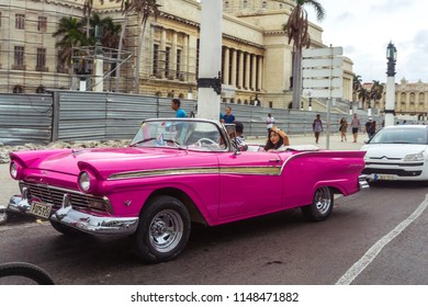 Havana, Cuba. 28 November 2017. Old American car on streets of capital city of Cuba. Famous tourist attraction, cars from 50s and 60s.