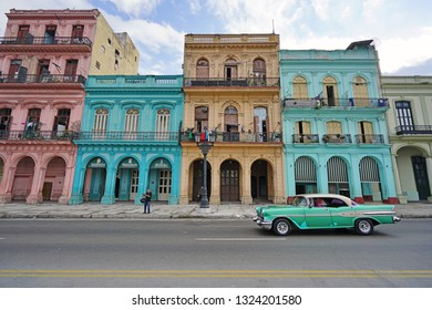 HAVANA, CUBA -3 FEB 2017- Vintage classic American cars serving as taxi in Havana, the capital of Cuba.