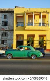 HAVANA, CUBA -3 FEB 2017- Vintage classic oldtimer American cars serving as taxi in Havana, the capital of Cuba.