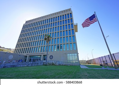 HAVANA, CUBA -3 FEB 2017- View of the Embassy of the United States in Cuba. The American embassy reopened in 2015 after the resuming of diplomatic relations.