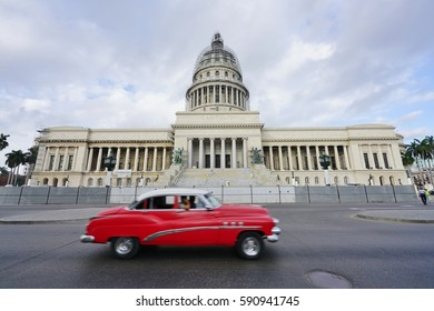 HAVANA, CUBA -3 FEB 2017- Vintage classic American cars in front of the Capitolio in Havana, the capital of Cuba.