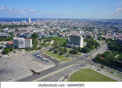 HAVANA, CUBA -3 FEB 2017- View of the landmark Plaza de la Revolucion in Havana, the capital of Cuba. It is the seat of the Cuban government, Communist party, and several ministries.
