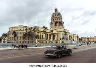 Havana, Cuba. 30 November 2017. 50s American old car on Cuban road. Travel from Havana to Trinidad.