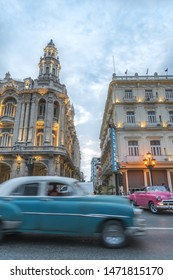 Havana, Cuba - 9 March 2018 : Vintage car in Old Havana