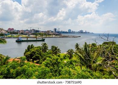 Havana, Cuba from across the bay. Ships leaving the port. July 2017