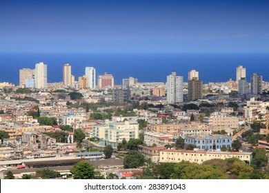 Havana, Cuba - aerial city view with Caribbean Sea.
